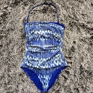 Tommy Bahama swimming suit one piece blue white 14